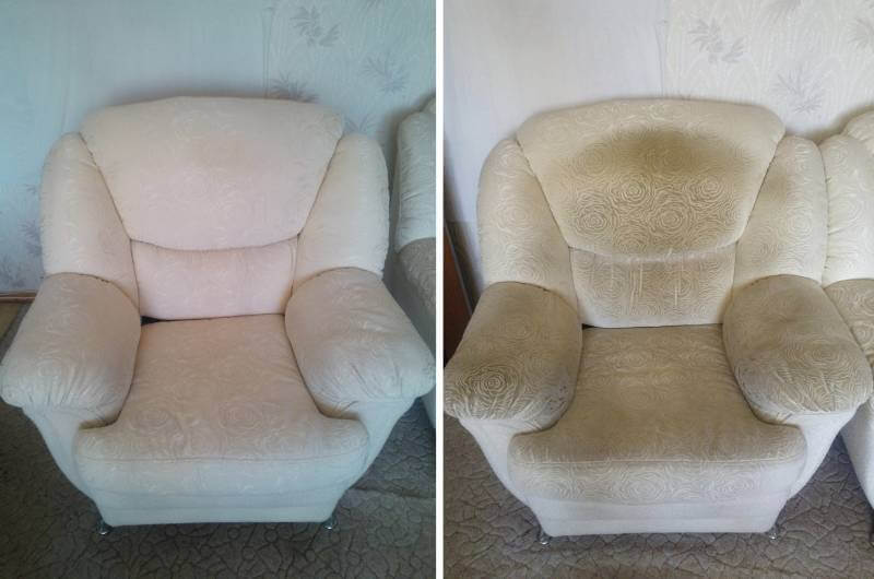 чистка тканевого засаленного дивана